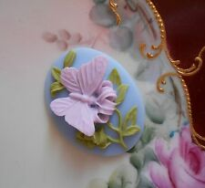Vintage Butterfly Cameo~Acrylic Oval Button 40x30mm~Lovely Colors~>^..^< Rescue