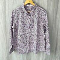 SEASALT Dusky Purple Multi Floral SIZE 18 UK Long Sleeve Button Down Blouse