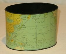Vintage Desk Top Trash Can World Map Tin (Y591)