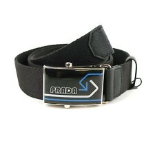 Prada Black Canvas White/Blue Prada Arrows Silver/Black Buckle Belt 90/36 2CN034