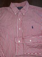 Mens RALPH LAUREN POLO Button Down Shirt White Red Size XL