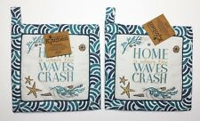 Set of 2 Kay Dee Coastal HOME is where the WAVES CRASH Cotton Potholders