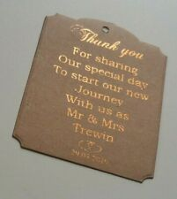 Wedding personalized in gold foil 'Thank You' gift tags Pk-20,30,50,100,150,200