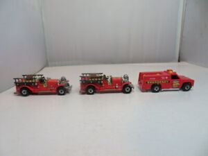 Two Hot Wheels Vintage Style Fire Trucks and Fire Rescue Vehicle