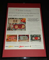 1955 Zenith Clock Radio Framed 11x17 ORIGINAL Advertising Display