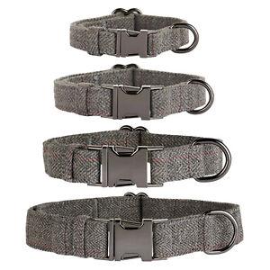 Thoroughbeds Dark Grey Herringbone Dog/Puppy Collar Tweed Soft Fleece Adjustable