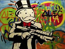 Alec Monopoly Gun Man Oil Painting on canvas Urban art Wall Decor 24x24""