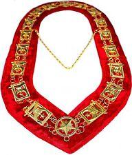 REGALIA MASONIC Shriners Dress GOLD METAL CHAIN COLLAR RED VELVET DMR-300GR