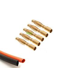 5 x Male RC 2mm Gold Bullet Connector INC Heat Shrink For Motor Plane ESC UK