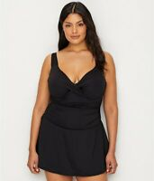 Anne Cole Signature NEW BLACK Plus Size Live In Color Swim Dress, US 18W