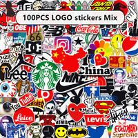 100PCS Mix Tide Brand LOGO Vinyl Stickers Skateboard Guitar PC Graffiti Decal