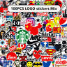 100PCS Mix Tide Brand LOGO Vinyl Stickers Skateboard Guitar PC Graffiti Decal