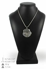 Belgium Griffon - silver plated necklace with silver cord, high quality, Art Dog