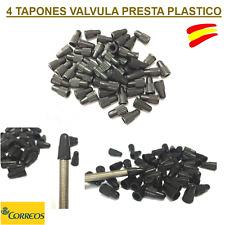 4 TAPONES VALVULA  PRESTA NEGROS PLASTICO / BICICLETAS CARRETERA/CARRERAS