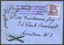 "Austria 1936 cover/1s/""Missed...flight...ordinary mail"""