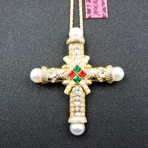 Betsey Johnson White Enamel Crystal Retro Pearl Cross Pendant Necklace/Brooch