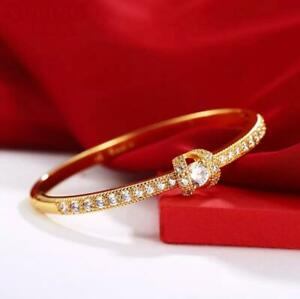 """9ct 9k Yellow """"Gold Filled"""" Ladies Bangle Bracelet 57mm with Zircons, Openable"""