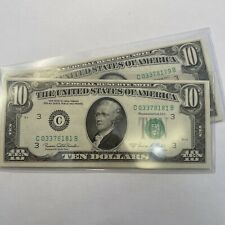 $10 Federal Reserve Note 1969 C Two consecutive