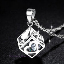 Lovely 18K White Gold Plated Cube Heart Crystal Pendant Necklace 166