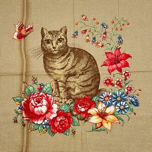 Vintage Joan Kessler Cat Pillow Panel Cotton Flowers Butterfly Concord Fabrics
