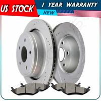 Rear Brake Disc Rotors + Ceramic Pads For 2005-2010 Dodge Ram 1500 Slotted Drill