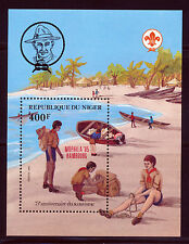 NIGER 1985 BOY SCOUTS SOUVENIR SHEET WITH PHILATELIC EXPO OVERPRINT SCOTT 673