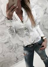 Ladies Women Autumn Collared Print OL Shirt Long Sleeve Casual Top Blouse Button