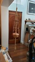 Large Strong Vntag Beaded Tan Rope Macrame Plant Hanger Holder 4'+ Tall Overall