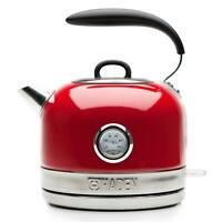 Haden Jersey Red Retro Traditional Kettle 1.5L Cordless - Stainless Steel, 3000W