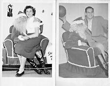 Vtg 1940/50s Christmas Photos Man & Woman Lot of 2 Dept Store Santa 3 1/2 x 5