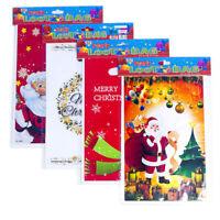 10pcs Christmas Gift Bags Plastic Loot Bag Santa Claus Candy Bags Xmas Decor FD
