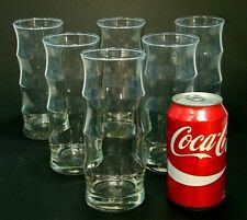 "6 ViNTAGE MCM ReTrO ATOMiC 7"" BAMBOO TiKi BAR MAN CAVE 16 Oz GLASSES TUMBLER"