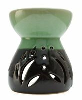 Green & Black Glazed Ceramic Oil Burner compatible with Yankee Candle Wax Tart