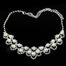 Rhinestone Fake Pearl Wedding Silver Plated Necklace Set Jewelry Crystal
