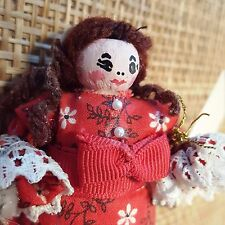 Vtg Orig. Dollpins by Ada Fancy Red Dress Girl Clothespin Art Doll Ooak-Handmade