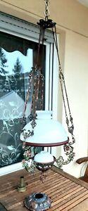 Antike Petroleum Lampe , Hängelampe,Motiv Blumen