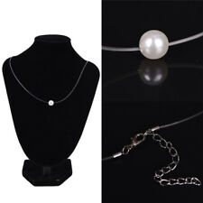 Acrylic Pearl Pendant Necklaces Choker Invisible Transparent Fishing LineChokeVP