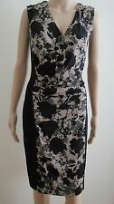Misses Size 12 Connected Apparel Navy Blue and Beige Sleeveless Dress