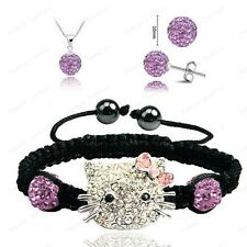 Hello Kitty Pink Red Blue Shambala Bracelet with Matching Earring & Necklace Set