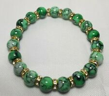 Beautiful Glass Handmade Bead Bracelet from Venice Gemstone Marble Green