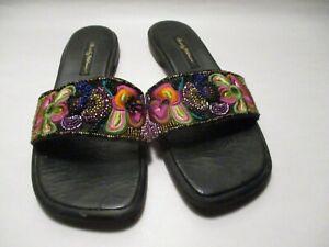 Beverly Feldman Womens 9M Flat Sole Beaded Brocade Slip on Slide Sandals