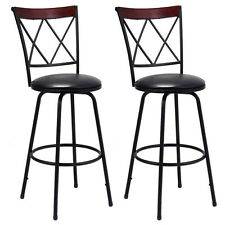 Set of 2 Swivel Bar Stools PU Leather Steel Counter Height Modern Bistro Chairs