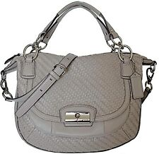 COACH KRISTIN WOVEN GRAY LEATHER ROUND SATCHEL SHOULDER HAND BAG
