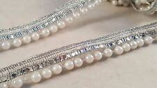 1.7cm- 1 meter Beautiful silver sequins and white pearls beaded lace trim DIY