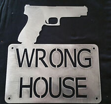 Wrong Home Gun WE DON'T DIAL 911 Pistol Guns Wall Hanging Sign Thief Danger