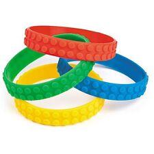 Pack of 4 - Colour Brick Block Rubber Bracelets - Party Bag Fillers