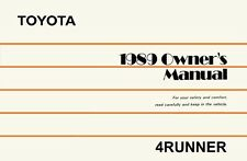 1989 Toyota 4Runner Owners Manual User Guide Reference Operator Book
