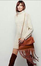FREE PEOPLE Raquel Fringe Crossbody  Bag Clutch Super Soft Suede Rust Color BOHO