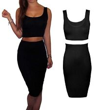 Womens 2 Piece Jersey Skirt And Crop Top Dress Bodycon Stretch Size 8 10 12 14