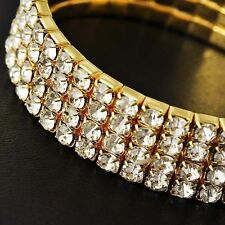 Charm Womens Wide Yellow Gold Filled Rhinestone Crystal Chain Tennis Bracelet